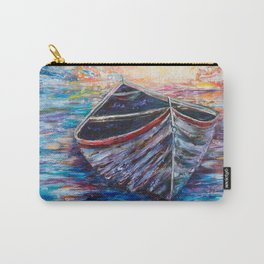 Wooden Boat at Sunrise - original oil painting with palette knife Carry-All Pouch