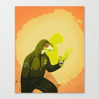 kermit Canvas Prints featuring kool kermit by Kingu Omega