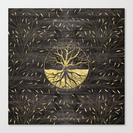 Golden Tree of life on wooden texture Canvas Print