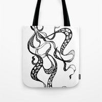 squid Tote Bags featuring Squid by Nicole Cioffe