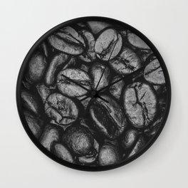 Coffee Beans Pattern Photograph Monochrome Wall Clock