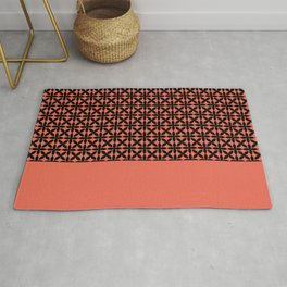 Black Square Petal Pattern on Pantone Living Coral Rug
