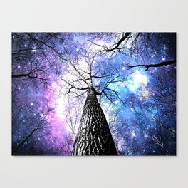 Wintry Trees Purple Blue Space  Canvas Print