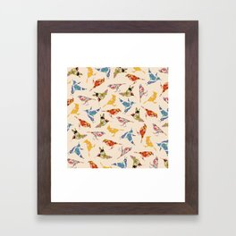 Vintage Wallpaper Birds Framed Art Print