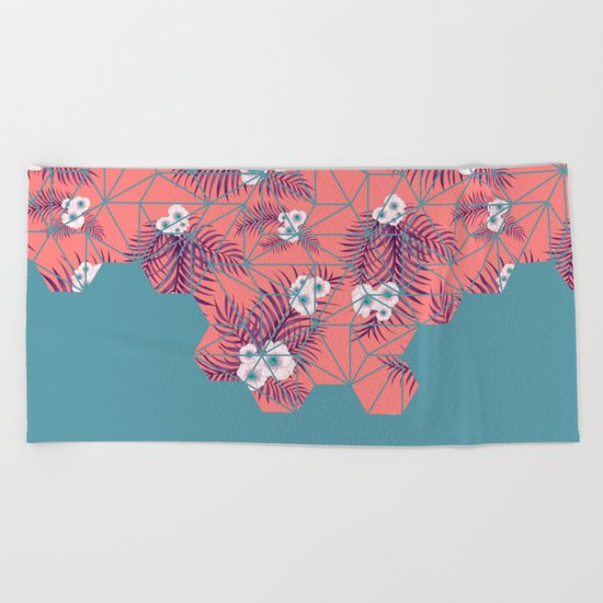 Tropical Fluo Tiles #society6 #decor #buyart Beach Towel