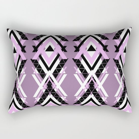 Geometric Columns - Pastel Purple Triangles Pattern Rectangular Pillow