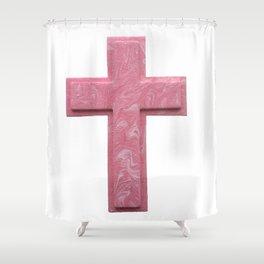 Pink Cross Shower Curtain