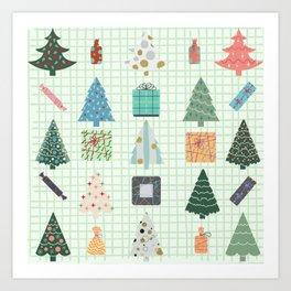 Christmas Trees & Presents Art Print