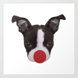 Boston Terrier Puppy Christmas Rudolph  Art Print