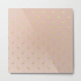 Pink and Gold Flamingo Pattern Metal Print