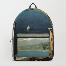 Vintage Taormina Sicily Italian travel ad Backpack
