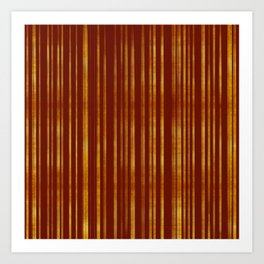 Golden and Terracotta Color Stripes Pattern Art Print