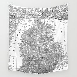 Vintage Map of Michigan (1909) Wall Tapestry