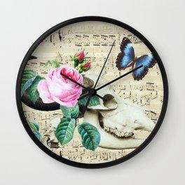 Cow Sugar Skull Music Wall Clock