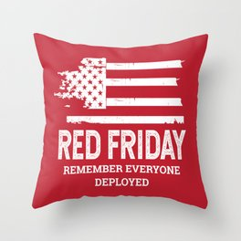 Red Friday RED American Flag Military Throw Pillow