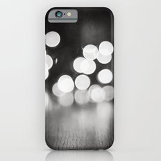 Black and White Sparkle Lights Photography, Neutral Bokeh Sparkly Photograph iPhone 6s Slim Case