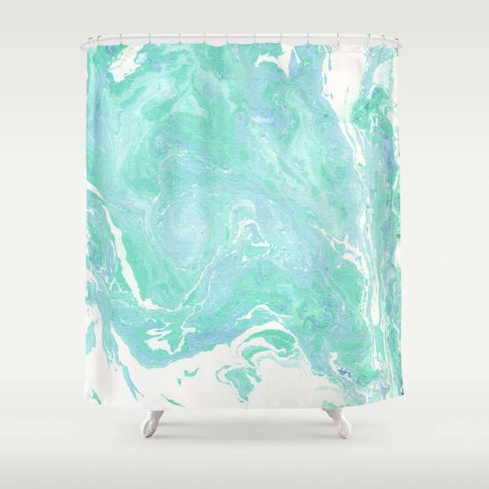 Marble Texture Background White Blue Green Pattern Shower Curtain