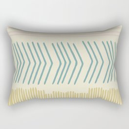 Hand drawn lines in Pink, Teal, and Mustard Rectangular Pillow