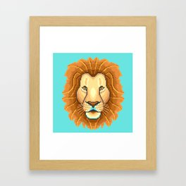 Modern pixel lion head on cyan background Framed Art Print