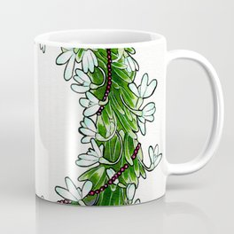 Snow drop flowers, green tourmaline crystals and garnet holiday wreath Coffee Mug