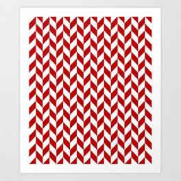 Red and White Herringbone Pattern Art Print