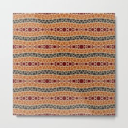 Mosaic Wavy Stripes in Brown, Terracotta and Burgundy Metal Print