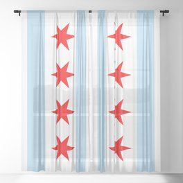 Chicago City Flag Windy City Standard Sheer Curtain