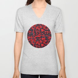 Gummy Raspberries and Blackberries Real Candy Pattern Unisex V-Neck