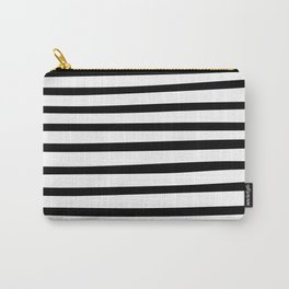 Black and White Hand Drawn Stripes Carry-All Pouch