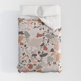 Neutral Terrazzo / Earth Tone Abstraction Duvet Cover
