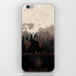 world map wanderlust forest iPhone Skin