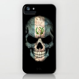 Dark Skull with Flag of Guatemala iPhone Case
