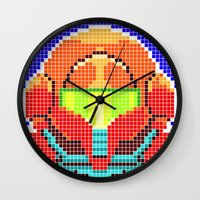 metroid Wall Clocks featuring Metroid Tiles by James Brunner
