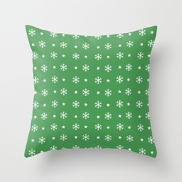 Green background with white snowflakes and stars pattern Throw Pillow