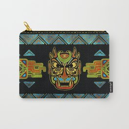Tribal Ethnic  Mask  with Colored Glass and Gold decor Carry-All Pouch