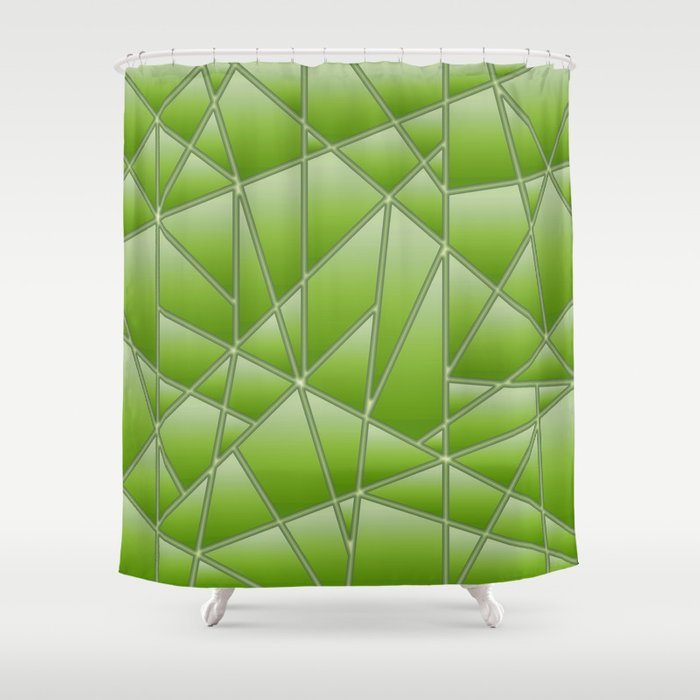Quilted Geometric In Lime Green Shower Curtain