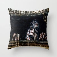 evil dead Throw Pillows featuring Stay Out of the Basement: Evil Dead by Joe Misrasi