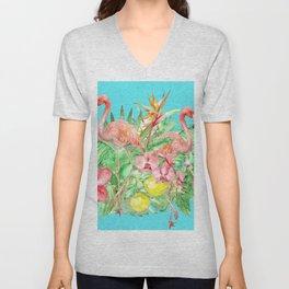 Flamingo Garden Unisex V-Neck