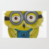 minion Area & Throw Rugs featuring Owl Minion  by Annelies202