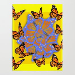 MONARCH BUTTERFLIES ABSTRACT ON YELLOW-GOLD Poster
