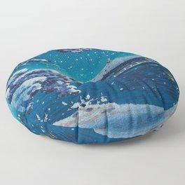 Tsuchiya Kôitsu Japanese Woodblock Vintage Print Blue Winter Snow Pagoda On Lake Floor Pillow
