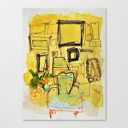Untitled Painting with Chair and Picture Frames Canvas Print
