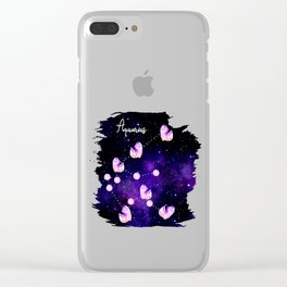 Aquarius Constellation made of Amethyst Crystals floating in space - star signs and birth stones Clear iPhone Case