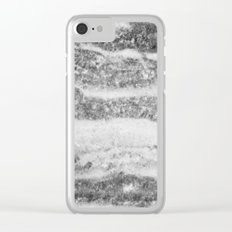 Marble - Silver White Marble Swirls Design Clear iPhone Case