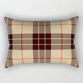 Tan Tartan with Black and Red Stripes Rectangular Pillow