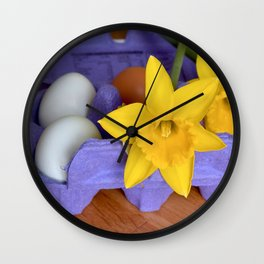 Daffodils and eggs Easter design. Wall Clock