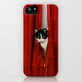 Peek-A-Boo Tuxedo Kitty iPhone Case