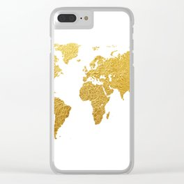World Map Gold Foil Clear iPhone Case