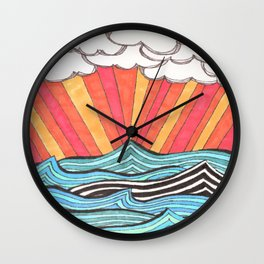 Rays of Sunshine on a Cloudy Day. Wall Clock