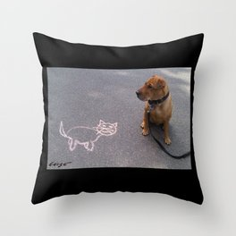 """""""Cat Skeptical"""" from the photo series""""My dog, PLaY-DoH"""" Throw Pillow"""